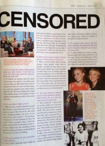 "Chandler Rabens, ""Ellen Uncensored,"" Teen People. February 2006. Page 2."